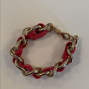 Gold chain link and leather bracelet